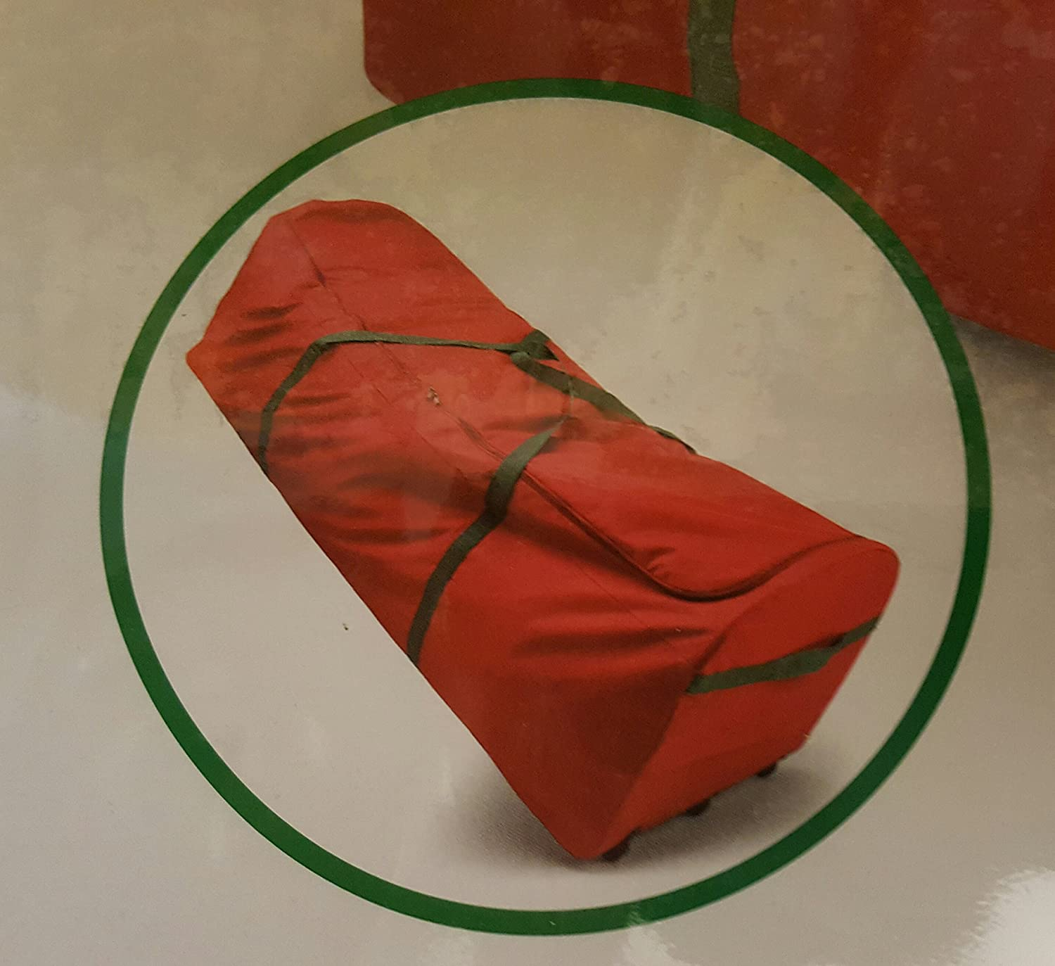 Amazon.com  Red Holiday Christmas Tree Storage Bag Canvas With Wheels Fits  9 Foot Tree  Home   Kitchen 3f847f88a264d