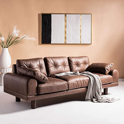 Safavieh Couture Home Scooter Mocha Italian Leather and Dark Brown Tufted Sofa