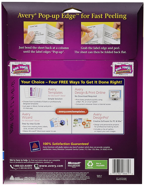 amazon com avery clear easy peel address labels for inkjet
