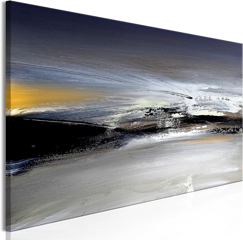 murando Cuadro en Lienzo Abstracto 150x50 cm 1 Parte Impresión en Material Tejido no Tejido Impresión Artística Imagen Gráfica Decoracion de Pared Gris Negro Amarillo a-A-0431-b-a