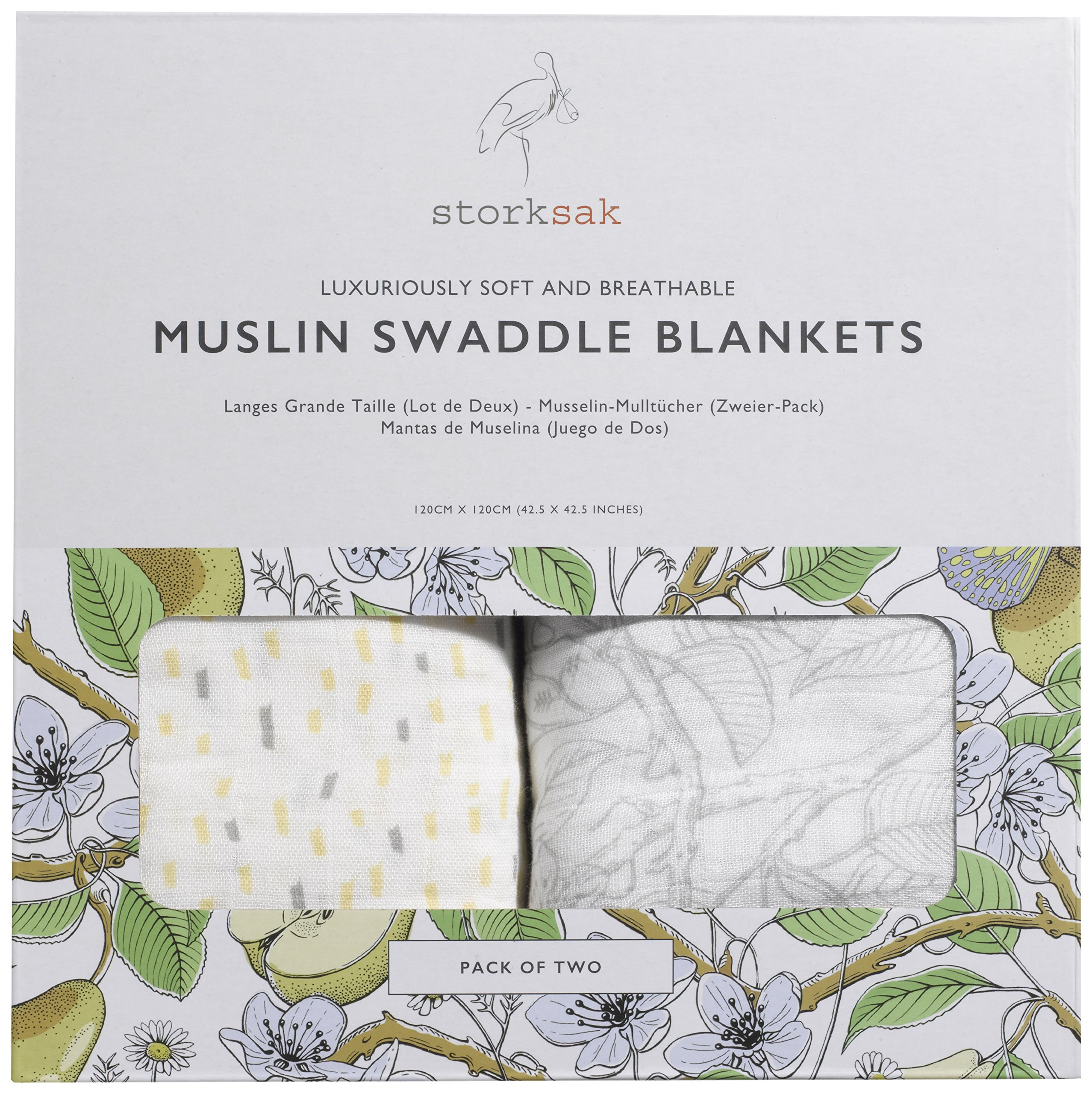 Storksak Muslin Swaddle Blankets Two-Pack, Mixed Print