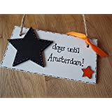 Countdown to Amsterdam Holiday Sign Wooden Plaque shabby chic gift