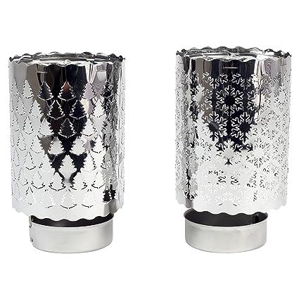 silberfarben für Gläser 15cm 2 Teelichthalter aus Metall