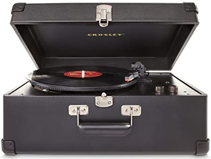 Crosley Keepsake - Tocadiscos Estilo maletín 3 velocidades (con Enchufe Reino Unido, Puerto USB y Altavoces estéreos Integrados, Negro)