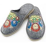 Absoft - Pantuflas para mujer de 100 % fieltro con bordado floral