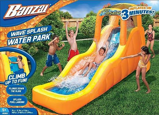 Banzai Wave Splash – Tobogán de agua (al aire libre Patio verano primavera Aqua Splash