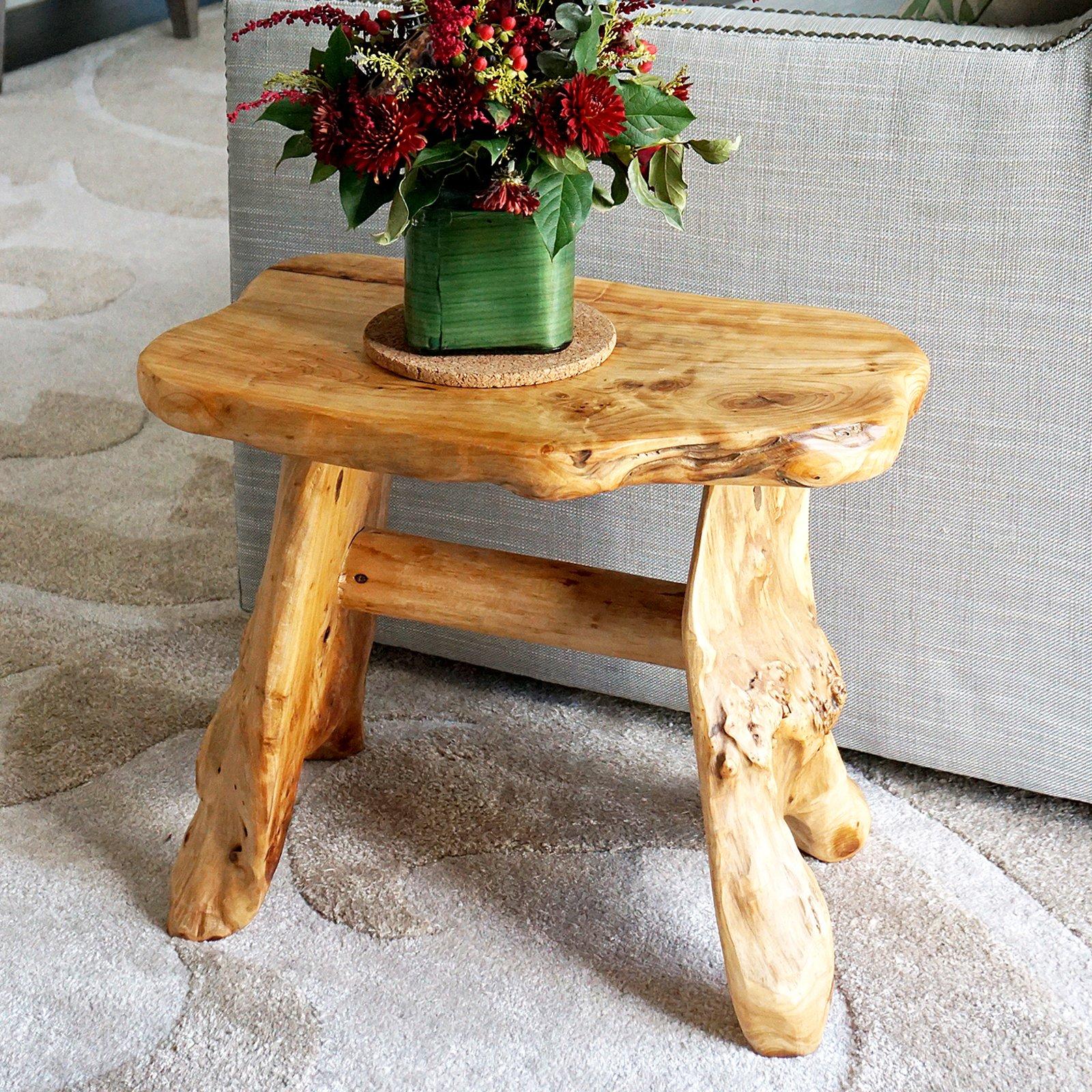 WELLAND Natural Wood Indoor/Outdoor Stool Cedar Garden Bench by WELLAND (Image #6)