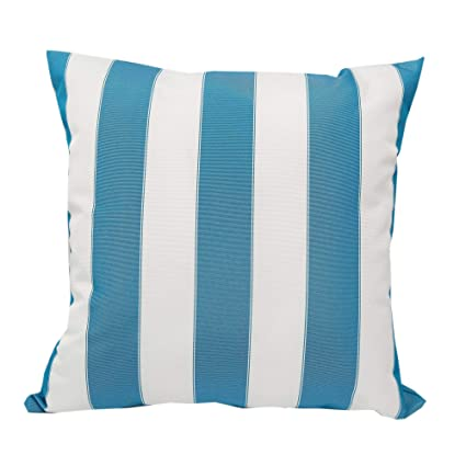 Amazon Com Home Accent Blue And White Striped Outdoor Throw Pillow