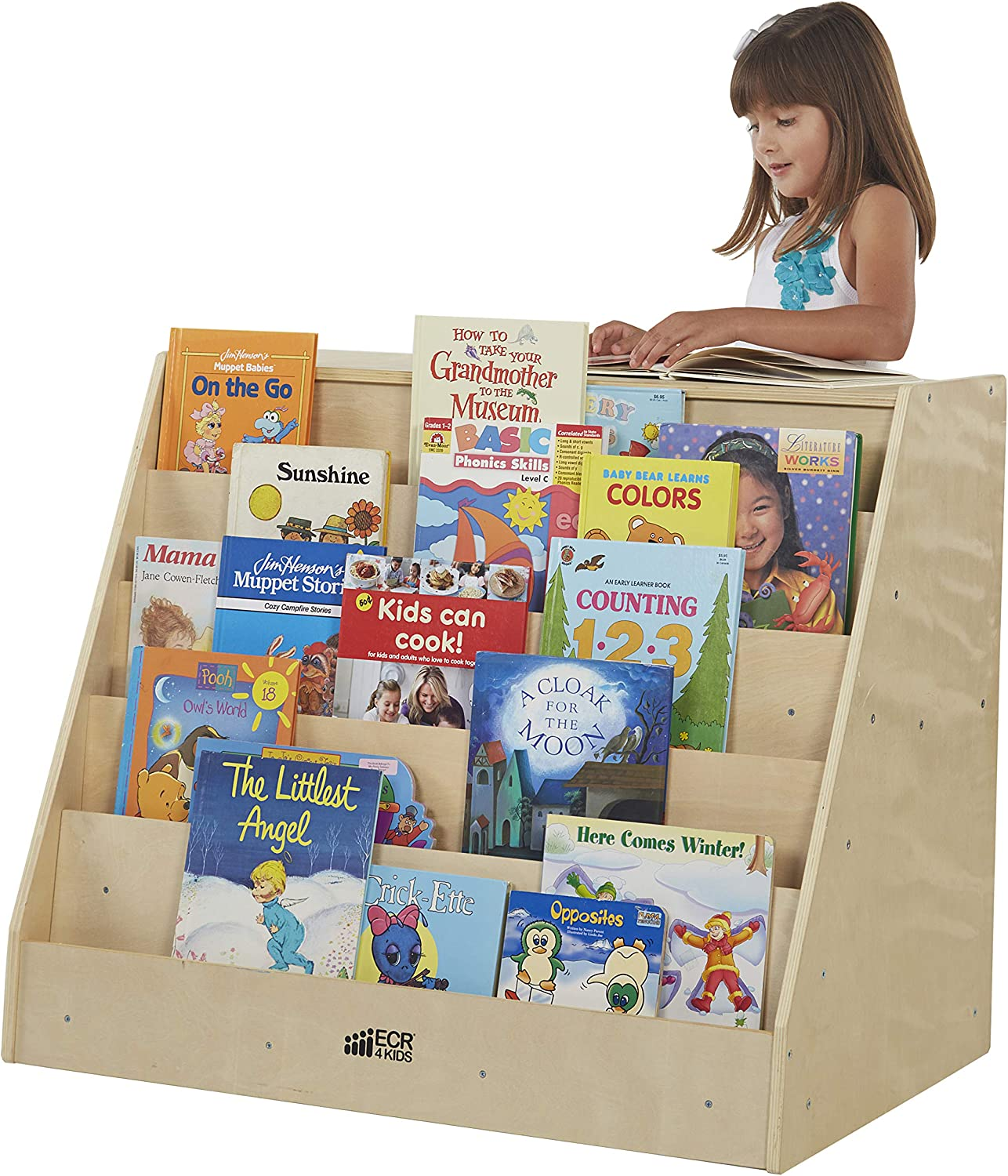 Amazon Com Ecr4kids Birch Book Display Stand With Storage With Rolling Casters Double Sided Hardwood Book Shelf Organizer For Kids 5 Shelves With 2 Shelves Mobile Display Stand For Classrooms And Home Natural Elr 0429 Industrial