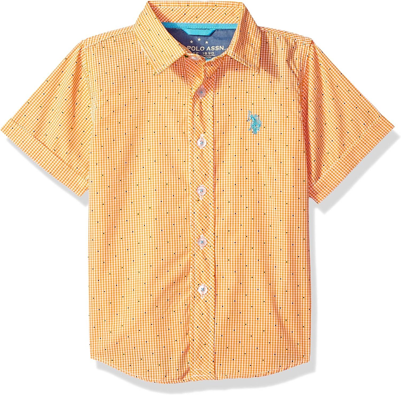 US Polo Assn Toddler Boys Plaid White Yellow /& Black Shirt
