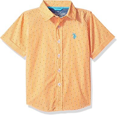 Boys Cotton Plaid Short Sleeve Woven Sport Shirt U.S Polo Assn