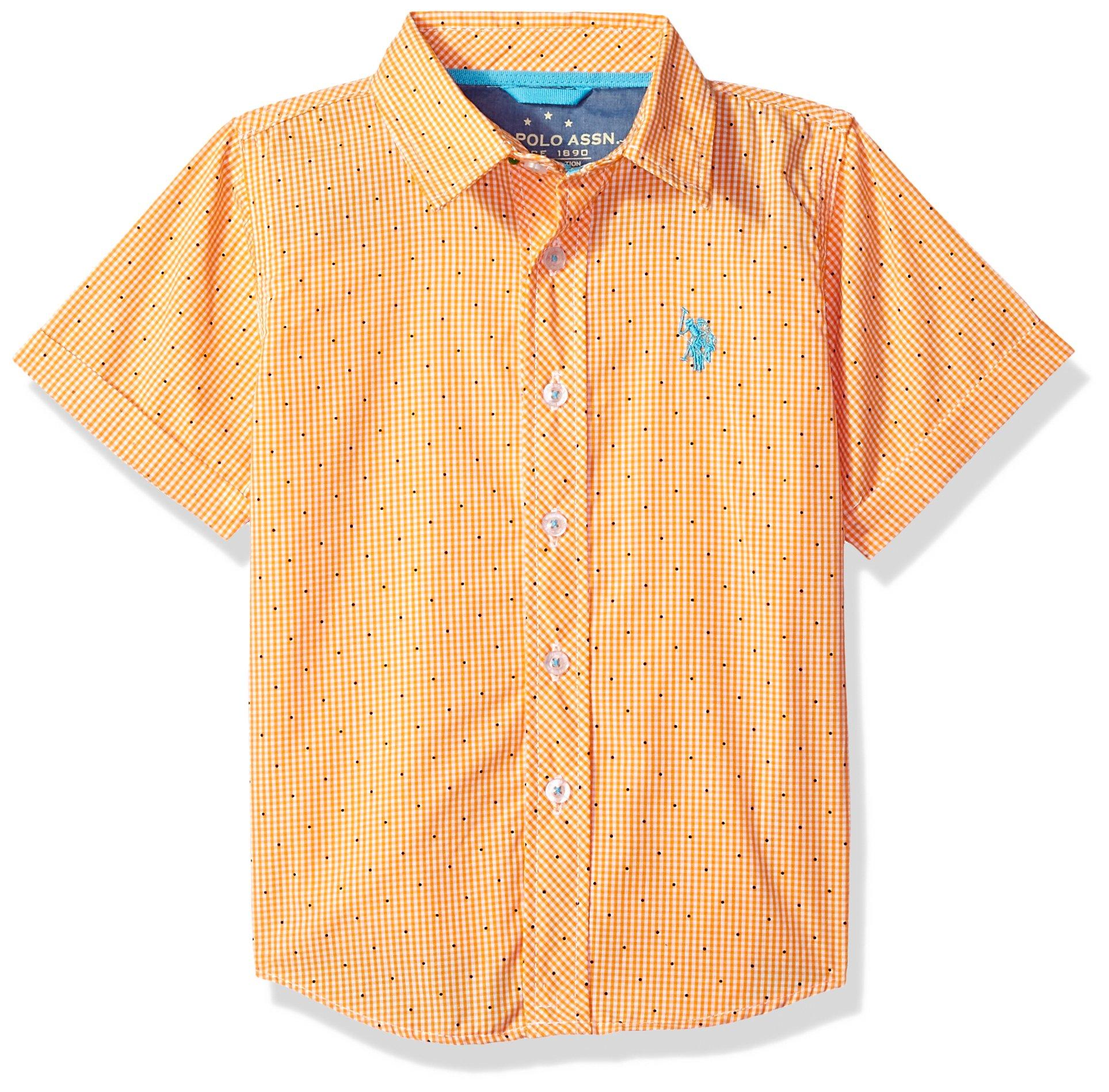 U.S. Polo Assn. Boys' Toddler Short Sleeve Plaid Sport Shirt, Check dots Warhol Orange, 4T