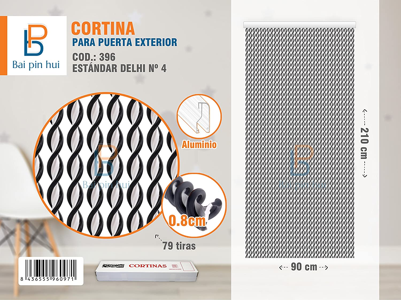 Bai pin hui Pin 396 Delhi Rideau de porte /à 79/bandes CouleurNoir Mat/ériauPlastique et aluminium Dimensions 90/x/210/cm