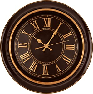 "Bernhard Products Large Wall Clock 18"" Quality Quartz Silent Non Ticking, Battery Operated for Home/Living Room/Over Fireplace, Beautiful Decorative Timeless Stylish Clock, Mahogany Brown & Copper"