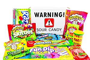 Super Sour Candy Variety Pack Gift Basket Box Care Package for Birthdays, Thank You, Thinking of You with Sour Straws, Belts, for Kids, Adults, Men, Women, Teens and Children ~ Jr