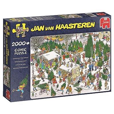 Jumbo Jan Van Haasteren Christmas Tree Market Jigsaw Puzzle (2000 Piece): Toys & Games