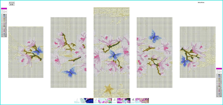 5pcs Flor de orqu/ídea elegante Crystal Full Diamond Rhinestone pintura por n/úmero Kit Decoraci/ón del hogar de punto de cruz bordado Craft 95X45cm DIY 5D Diamante Pintura
