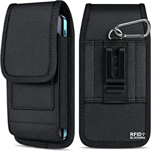 ykooe Vertical Nylon Cell Phone Belt Clip Holster Fits iPhone 11, 12, Pro, Max, XR, XS Max Samsung Galaxy S20 FE Plus Note 20 Ultra A20 A50 A70 A11 A51 A71 RFID Blocking Card Holder Belt Loops Pouch