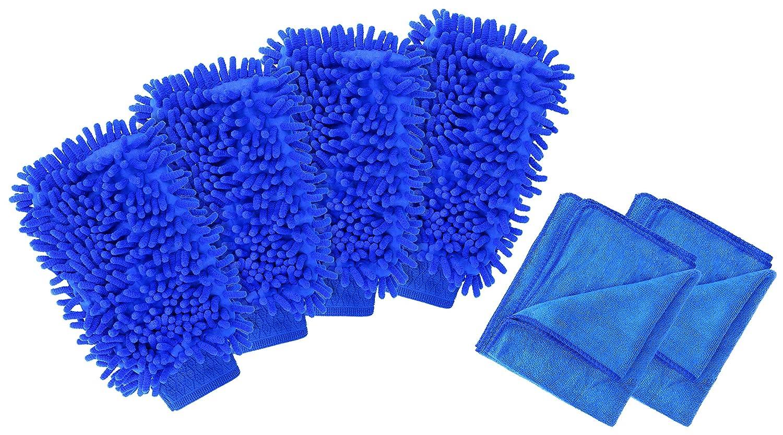 cosey 19x25cm 2x Chenille Mikrofaser Wasch-Handschuh Reinigungs-Schwamm grün