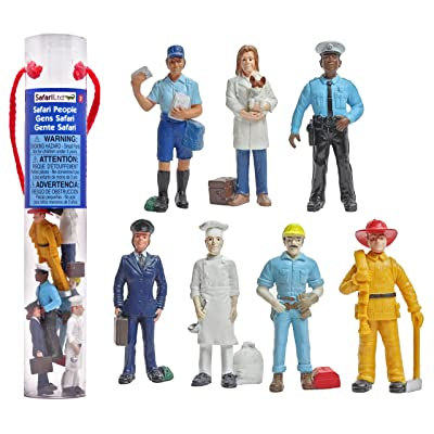 Safari Ltd People TOOB With 7 Everyday Heroes Figurine Toys, Including Construction Worker, Policeman, Mailman, Pilot, Chef, Fireman, and Veterinarian: Toys & Games