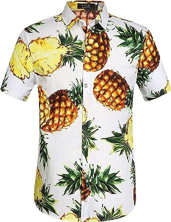 SSLR – Camisa Hawaiana para Hombre, Manga Corta, algodón, Camiseta de Ocio, piña, impresión 3D, Camiseta Ahloa: Amazon.es: Ropa y accesorios