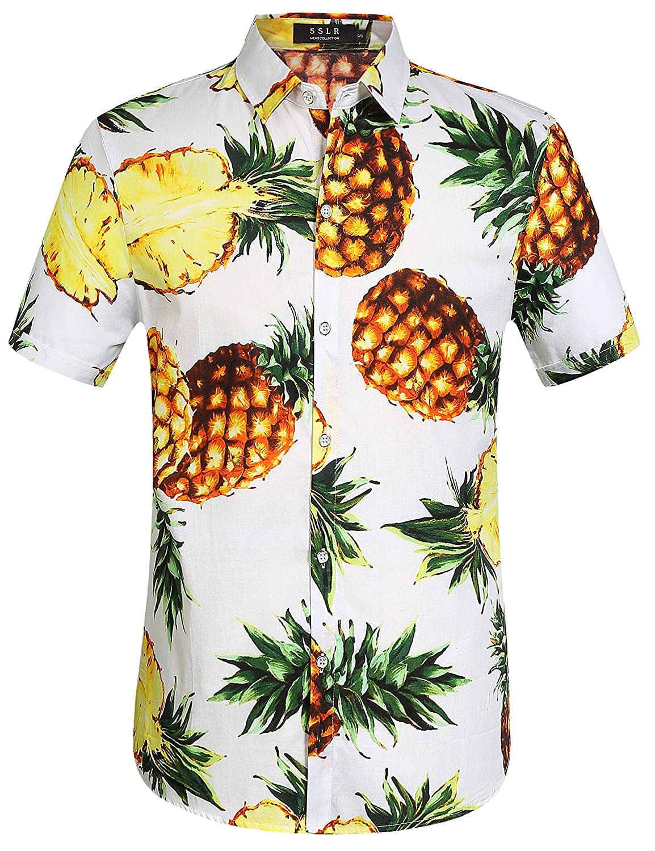TALLA S. SSLR Camisa Hawaiana Hombre Algodón Manga Corta Casual Estampada de Piña