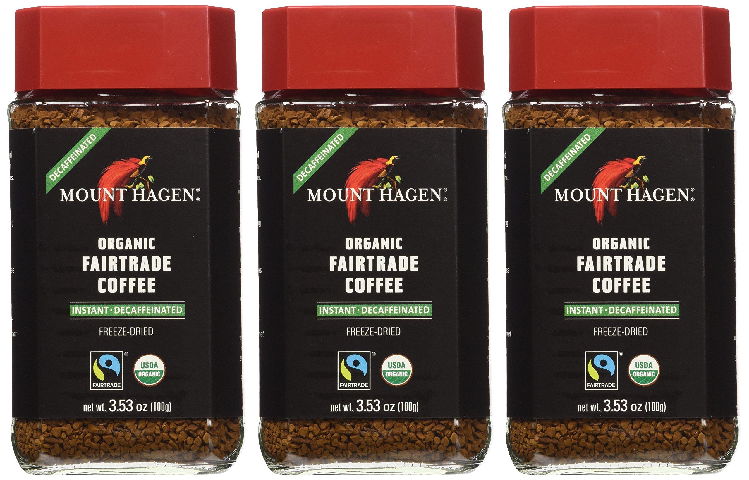 Mount Hagen: Organic Café Decaffeinated Freeze Dried Instant Coffee (3 X 3.53 Oz) (Pack of 3) by Mount Hagen