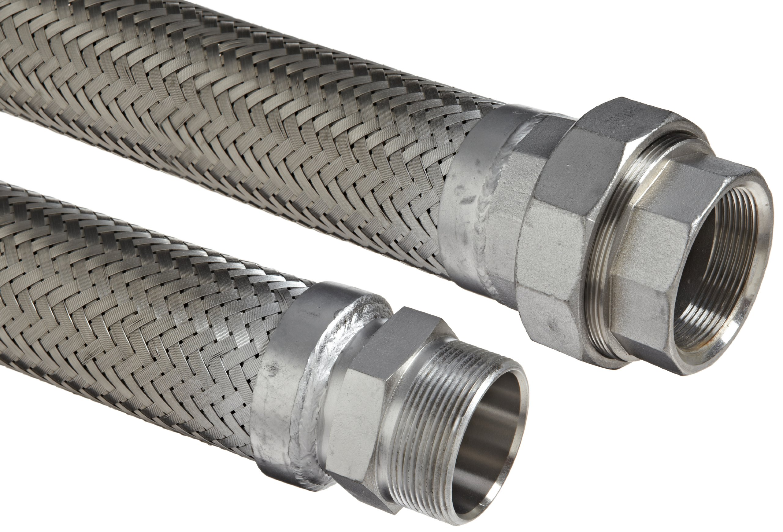 Hose Master Masterflex Stainless Steel 321 Flexible Hose Assembly, 1/2'' Stainless Steel 304 Hex NPT Male x 150 psi NPT Female Union Connection, 300 PSI Maximum Pressure, 36'' Length, 1/2'' ID