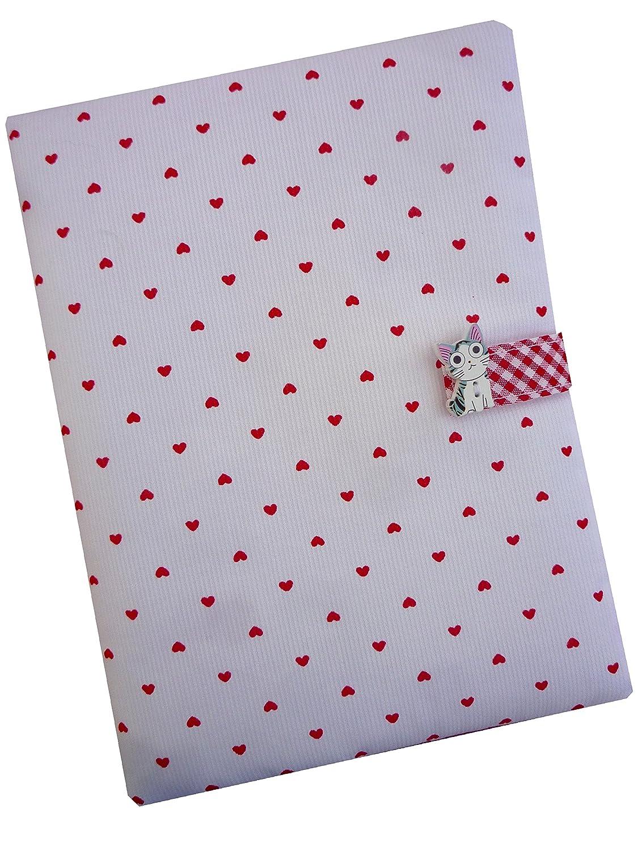 Cadeau de Naissance - Protège-Carnet de Santé - CHAT/COEUR - Rouge Sackcloth Sally