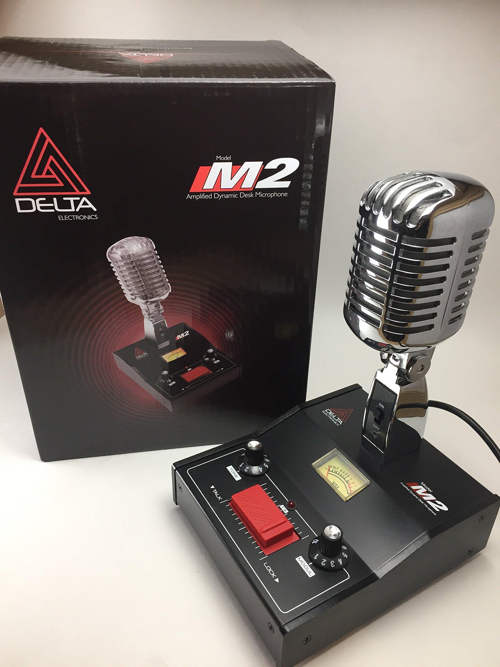 DELTA M2 AMPLIFIED DYNAMIC POWER BASE MICROPHONE 4 pin Cobra CB HAM MIC