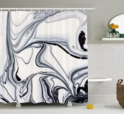 Amazon Ambesonne Marble Shower Curtain Trippy Mix Of Colors Custom Black Marble Bathroom Creative
