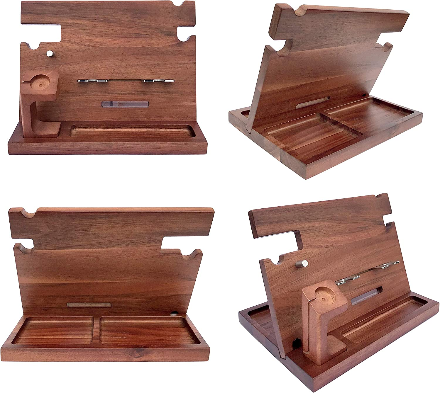 Tablet Stand for Dad Nightstand Organizer Bundle w//RFID Blocking Leather Wallet Husband Gifts from Wife Eterluck Wooden Docking Station Men Walnut Cell Phone Stand Charging Station
