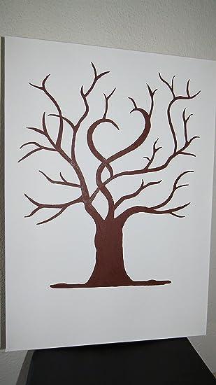 Fingerabdruck Gastebuch Hochzeitsbaum Wedding Tree Leinwand 70x50