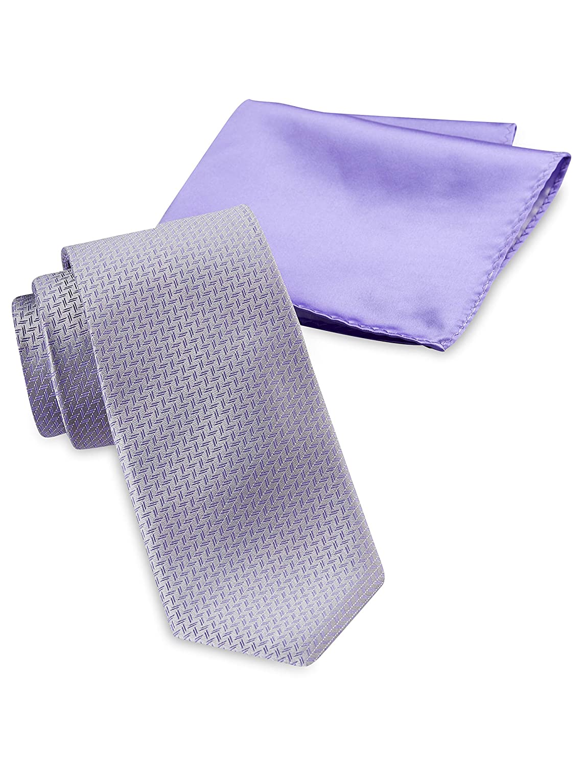 Synrgy by DXL Big and Tall Zig Zag Neat Tie and Pocket Square
