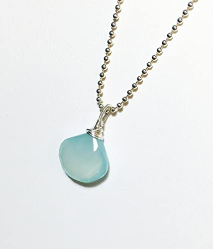 Aqua Chalcedony Necklace,Chalcedony Pendant,Sea Foam Pendant,Aqua Blue Necklace,Sterling silver Necklace,925 silver Necklace,Gift for her