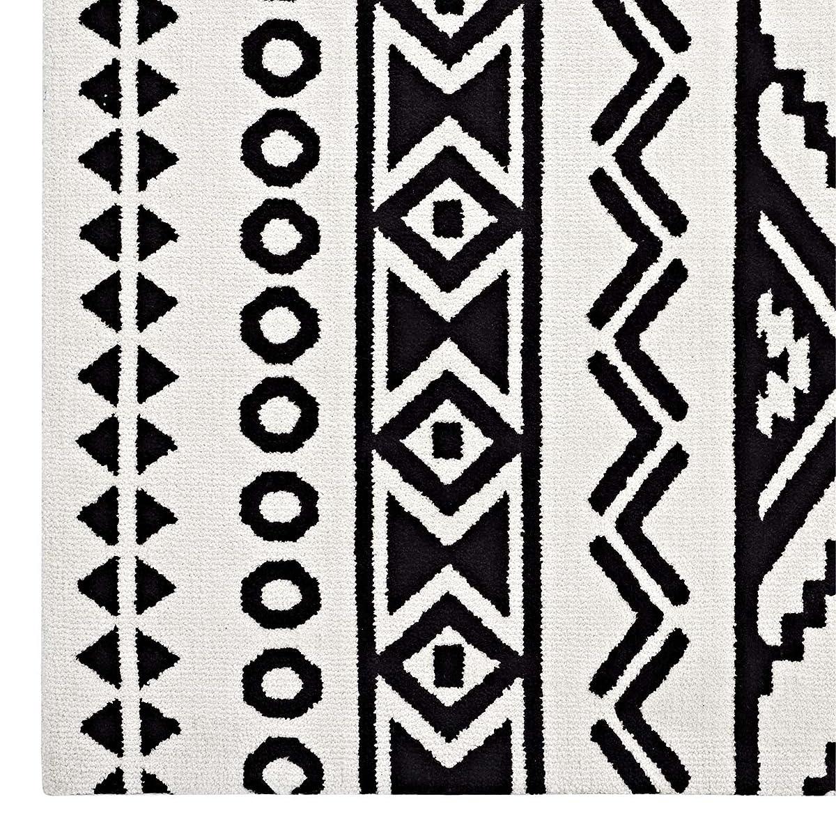 Modway R-1010A-58 Haku Geometric Moroccan Tribal Area Rug, 5X8, Black and White