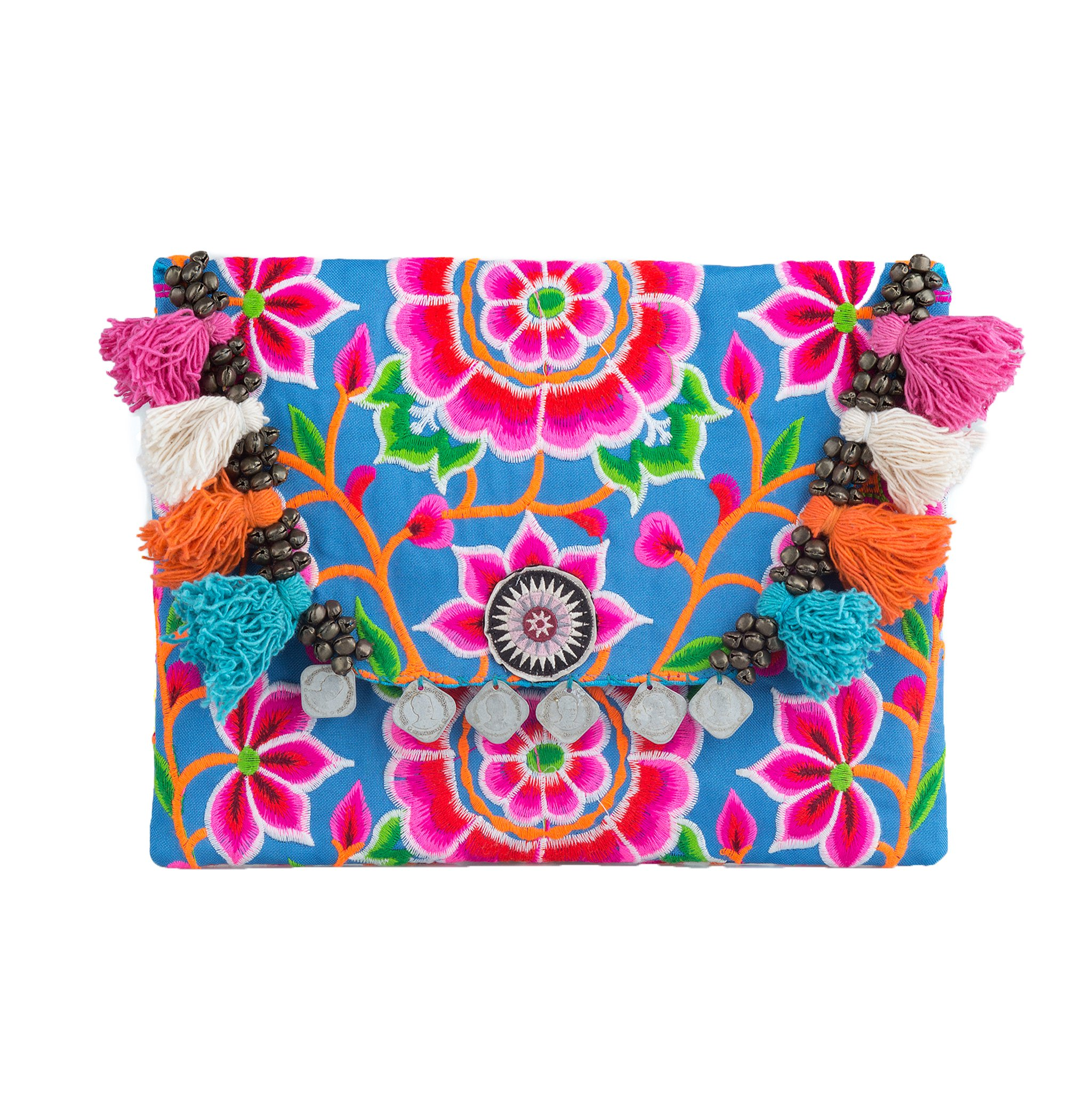 Changnoi Fair Trade Boho Clutch Bag/Purse with Hmong Hill Tribe Embroidered Silk Worm in Blue