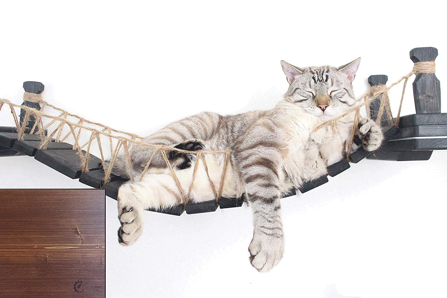 English Chestnut stain The Cat Mod Wall-Mounted Wooden Cat Bridge for Cats to Play and Lounge
