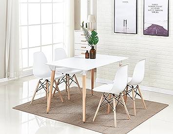 P&N Homewares®, tavolo da pranzo bianco Halo e set di 4 sedie Romano ...