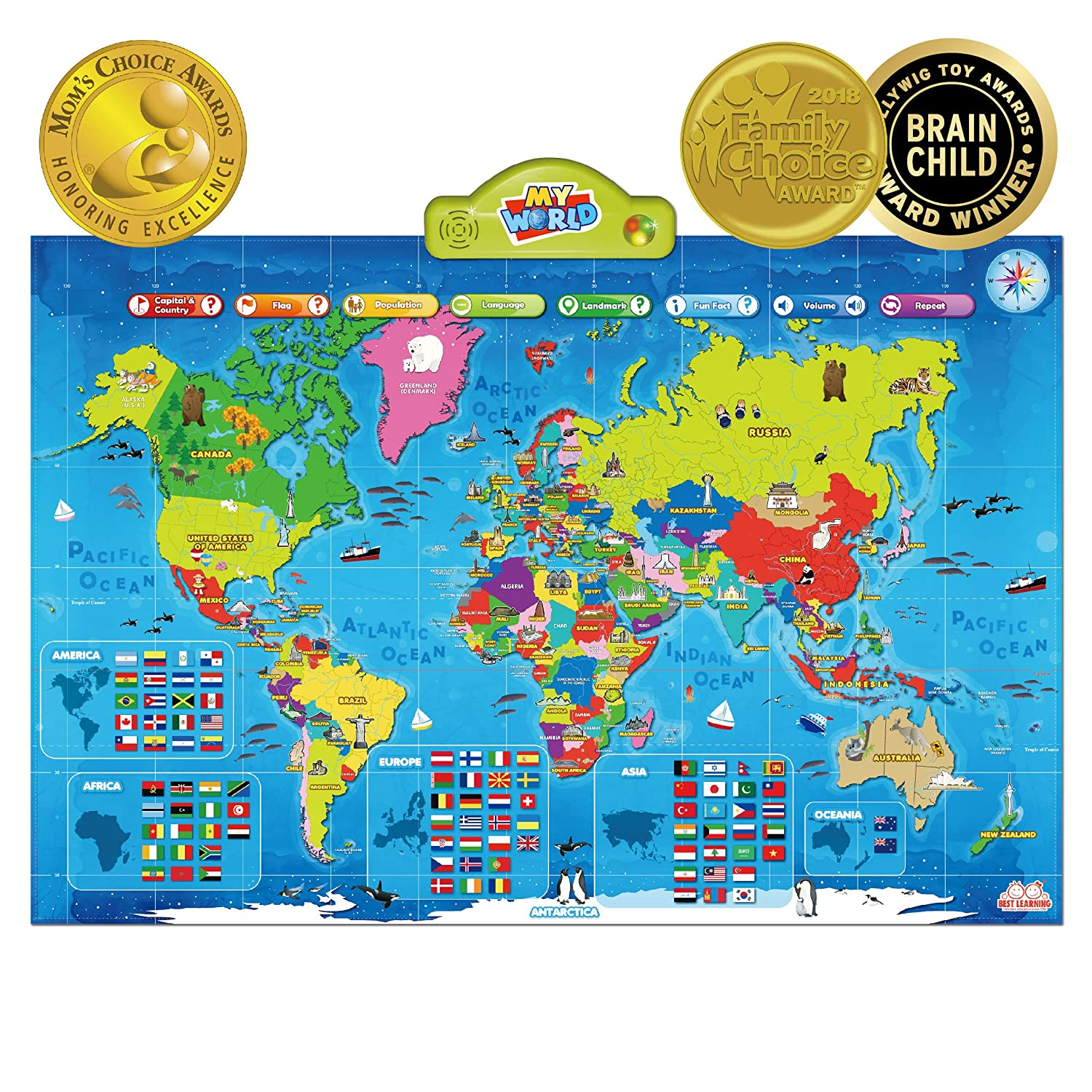 BEST LEARNING i-Poster My World Interactive Map – Educational Talking Toy for Kids
