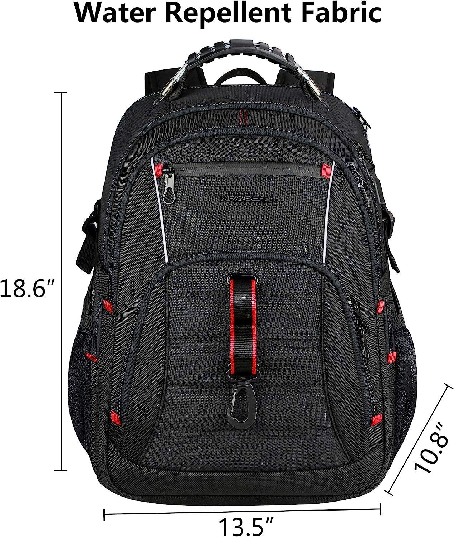 KROSER Mochila para Portátil de Viaje 17 pulgadas - Mochila Universitaria con Bolsillos RFID Hidrófugo para Escuela/ Negocios/ Hombres/Mujeres Laptop Backpack