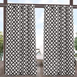 Exclusive Home Curtains EH8448-01-2-84G Bamboo Trellis Indoor/Outdoor Light Filtering Grommet Top Curtain Panel Pair, 54x84, Black/White