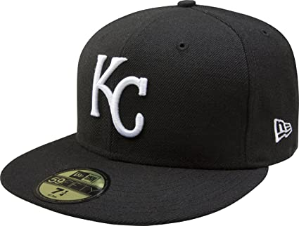 Amazon.com   MLB Kansas City Royals Black with White 59FIFTY Fitted ... 4724dd5f9b77