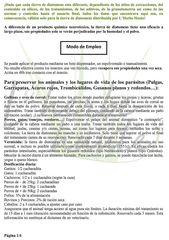 Tierra de diatomeas 4kg alimentaria, no calcinada, blanca - Alta pureza sin tratamiento ni aditivo - Utilizable en agricultura orgánica - Elimina pulgas, ...