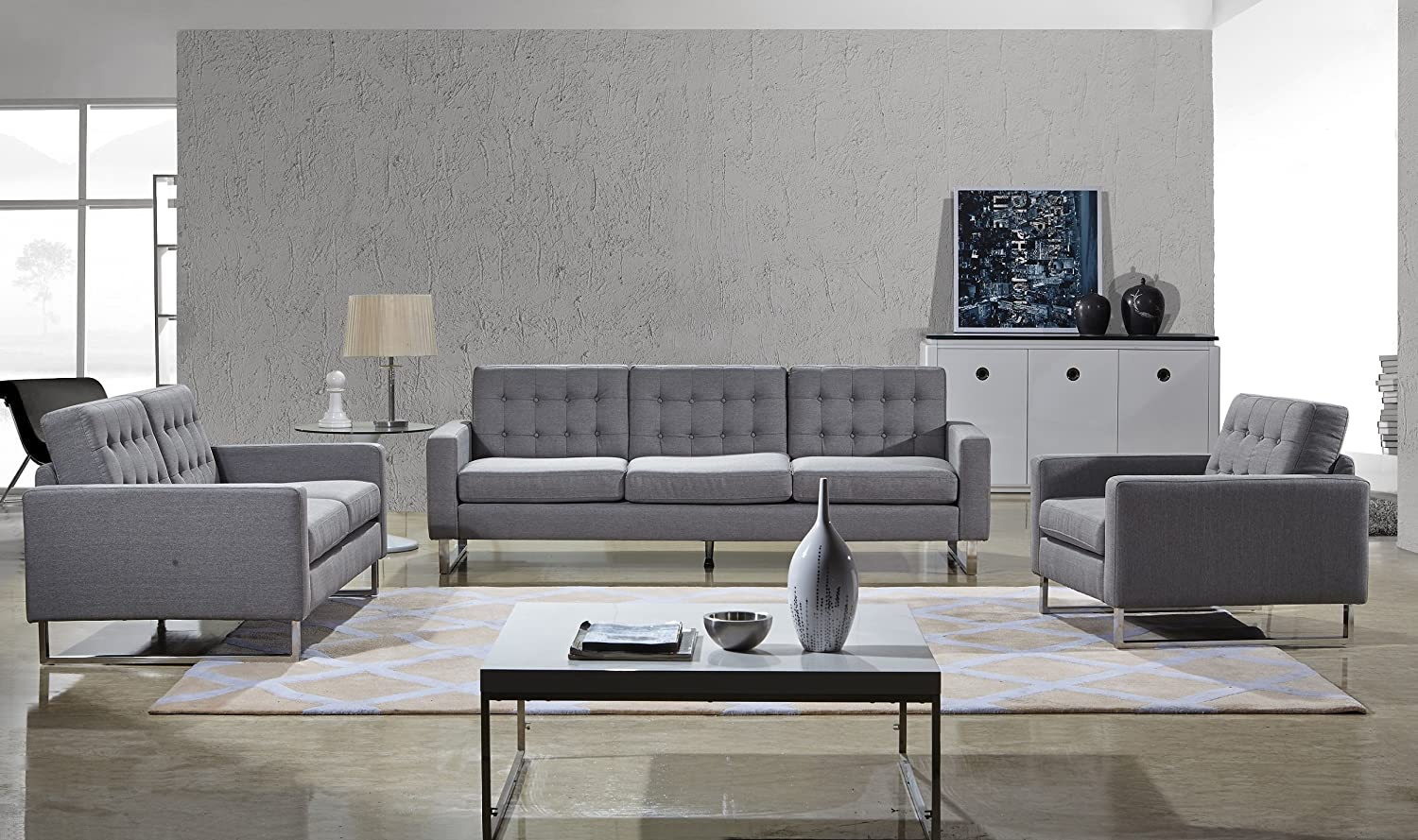Angela Grey Fabric Modern Sofa -Loveseat and Chair Set (Gray)
