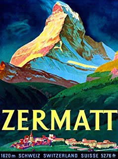 A SLICE IN TIME Zermatt Switzerland Swiss Matterhorn Schweiz Suisse Europe Vintage Travel Advertisement Art Collectible