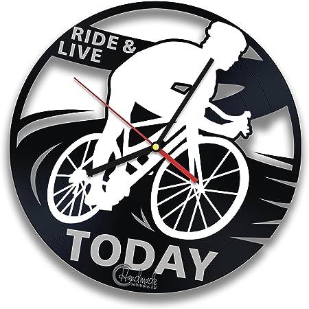 Para bicicleta Rider Reloj de pared de disco de vinilo por hecho a mano Decor diseño de soluciones – Bicicleta – Idea de regalo para los ciclistas: Amazon.es: Hogar