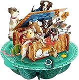 Santoro Pirouettes Basket of Puppies 3D Pop Up Card, Multicolor