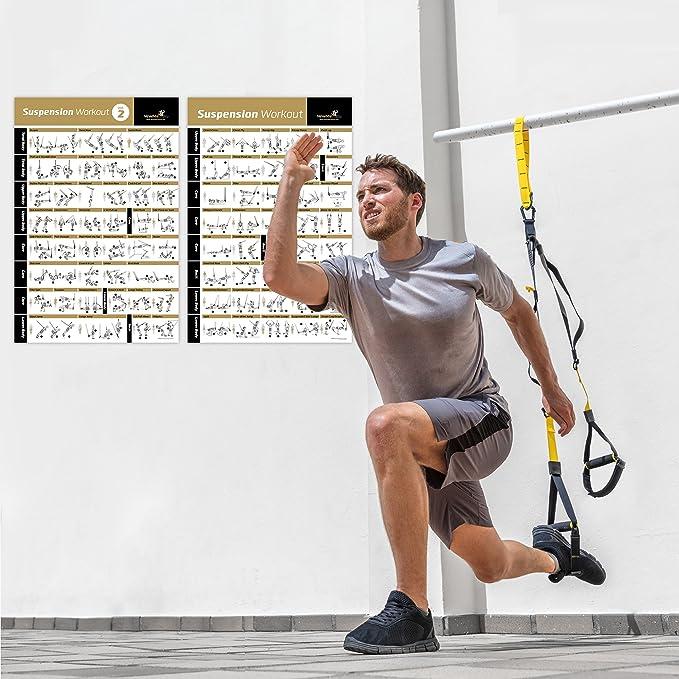 Vol 1 + 2 Póster de ejercicios en suspensión 2-Pack – LAMINADO, grande y fácil de Follow ejercicio banda de resistencia Entrenamiento – entrenamiento ...