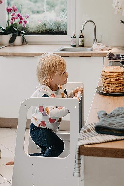 taburete de cocina para aprender a aprender a la cocina con plataforma ajustable Torre de pie para ni/ños taburete de inodoro para ni/ños color negro